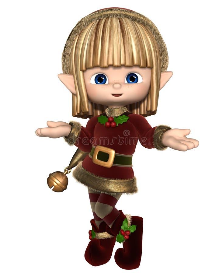 Śliczny Szczęśliwy Toon bożych narodzeń elf royalty ilustracja