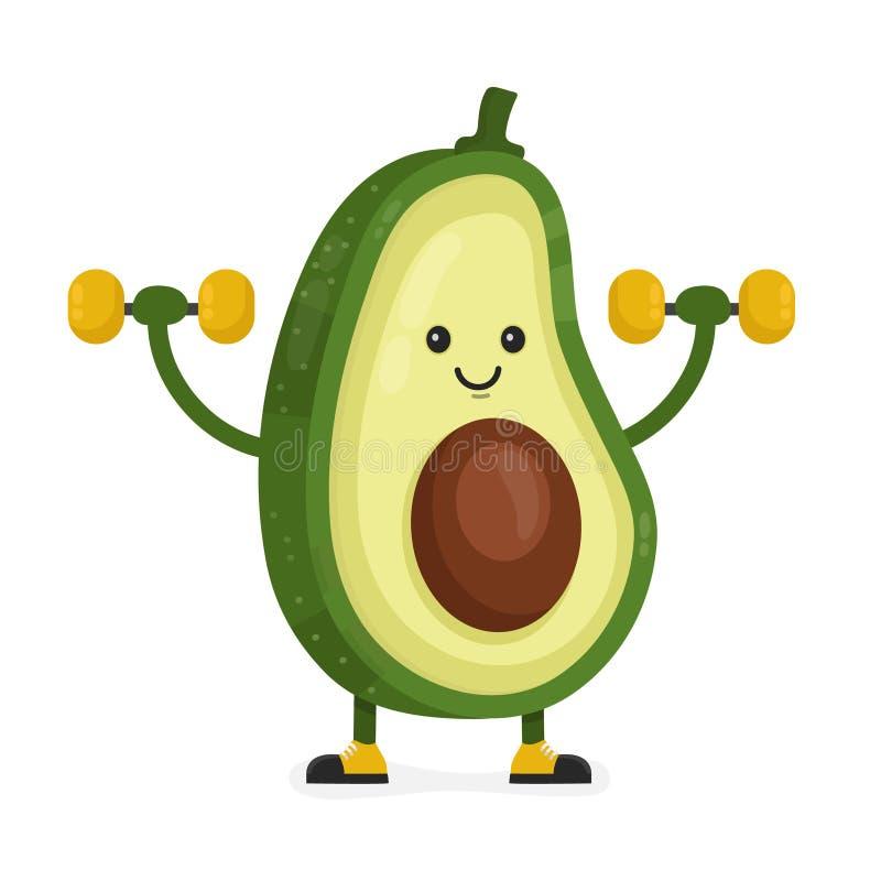 Śliczny szczęśliwy uśmiechnięty avocado wektor ilustracji