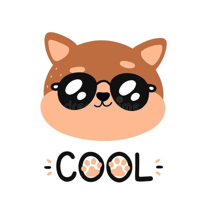 Śliczny szczęśliwy uśmiechnięty chłodno kot w okularach przeciwsłonecznych royalty ilustracja