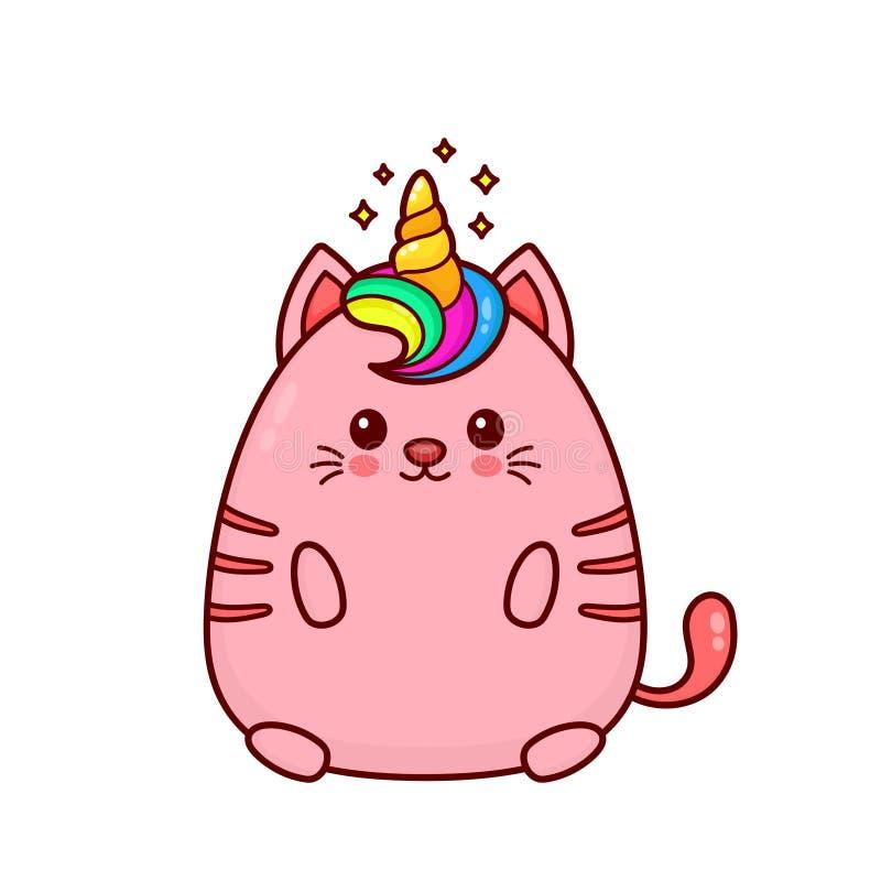Śliczny szczęśliwy uśmiechnięty jednorożec kot ilustracji