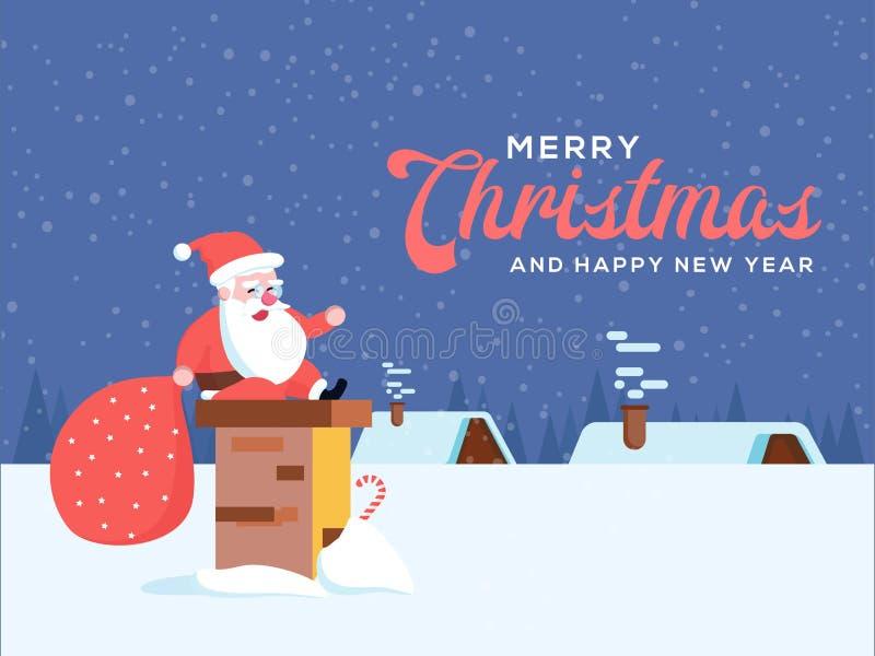 Śliczny szczęśliwy uśmiechnięty kreskówki Santa obsiadanie na kominowej stercie lub smo royalty ilustracja