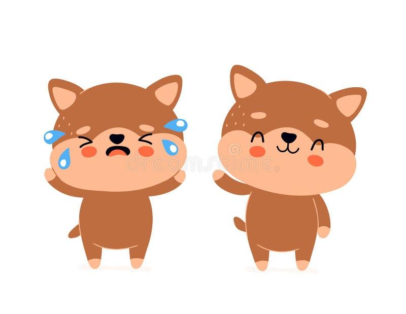 Śliczny szczęśliwy uśmiechnięty pies i smutny płaczu charakter royalty ilustracja