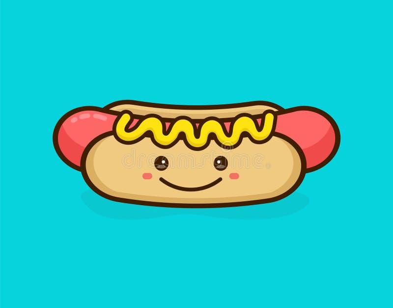 Śliczny szczęśliwy uśmiechnięty smakowity hot dog royalty ilustracja