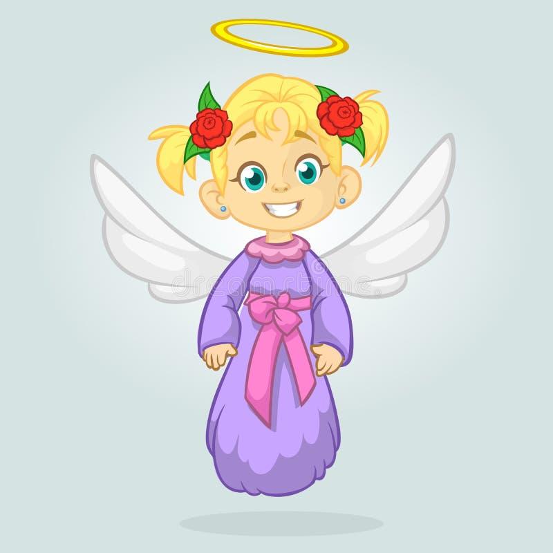 Śliczny szczęśliwych bożych narodzeń anioła charakter Odizolowywająca wektorowa ilustracja Projekt dla druku, plakat, majcher, ka royalty ilustracja