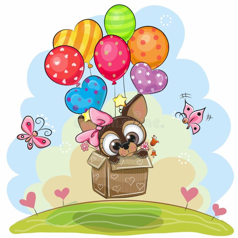 Śliczny szczeniak w pudełku lata na balonach ilustracji