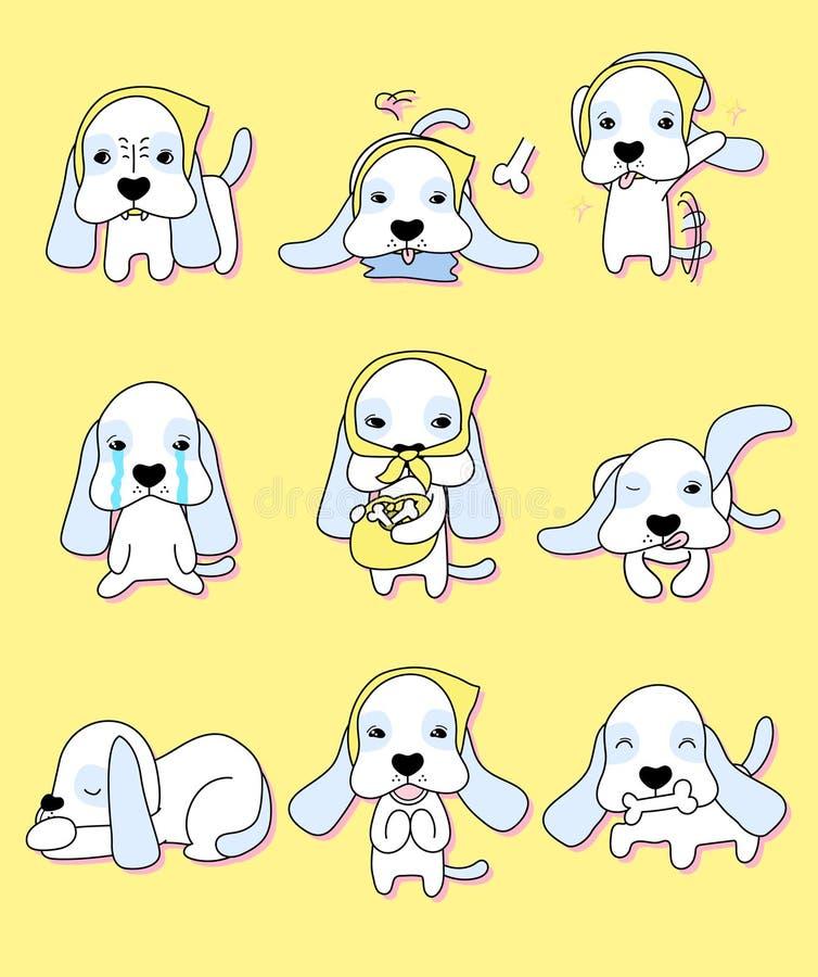 Śliczny szczeniak z 9 różnymi akcjami ilustracji