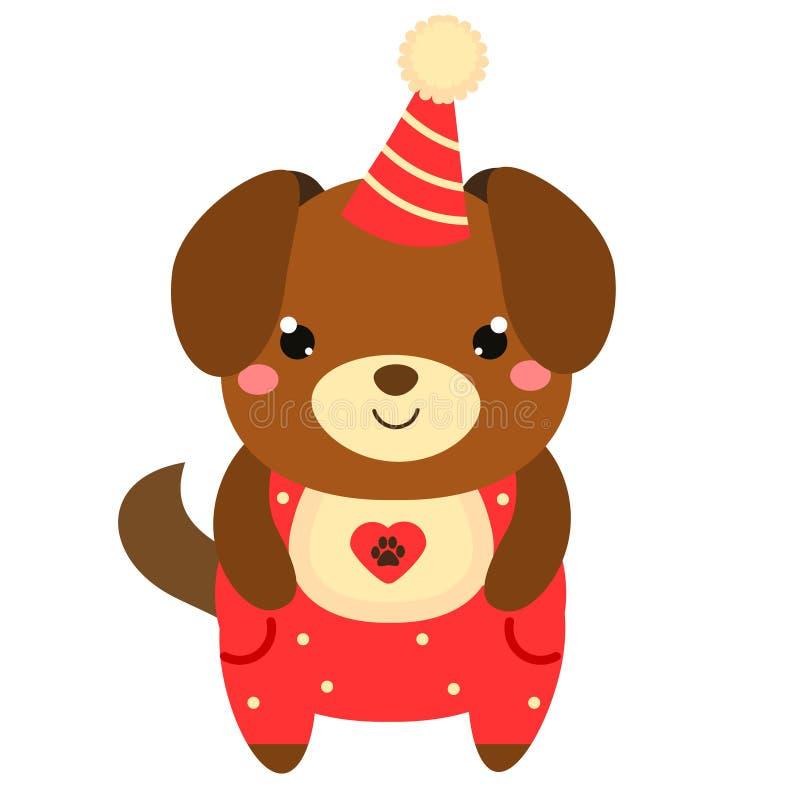 Śliczny szczeniaka pies w partyjnym kapeluszu Kreskówki kawaii zwierzęcia charakter Wektorowa ilustracja dla dzieciaków i dzieci  royalty ilustracja