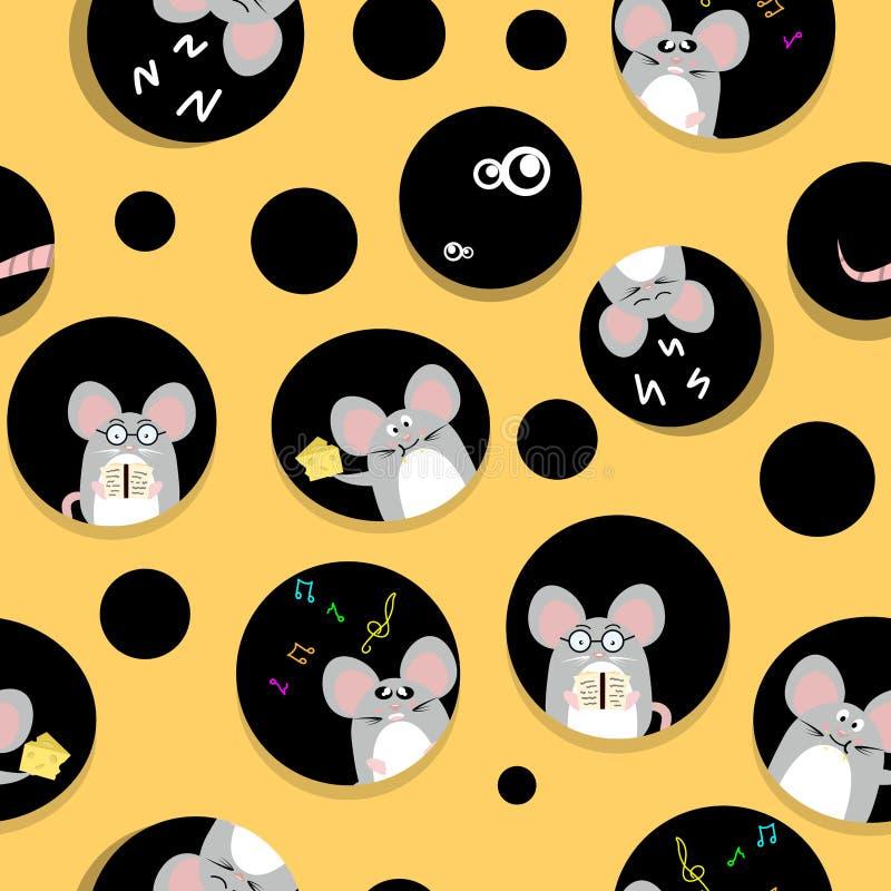 Śliczny szczur i mysz żywi w sera domu twórczości ślicznego abstrakcjonistycznego tła tekstury bezszwowej deseniowej tkaninie dla ilustracja wektor