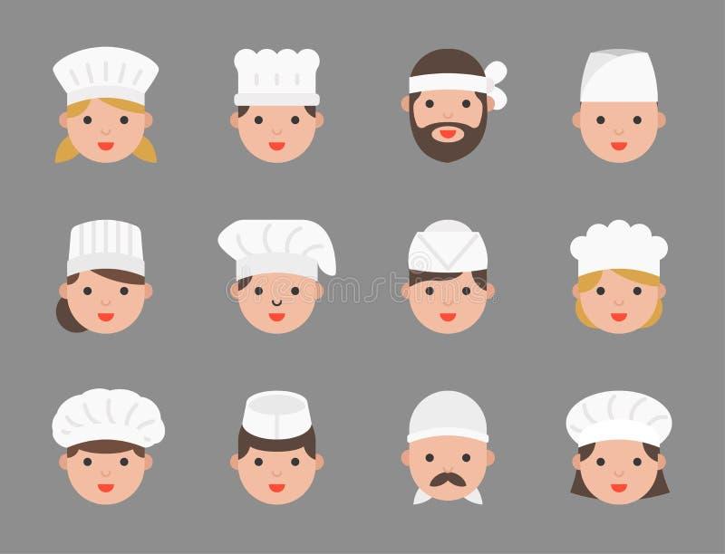 Śliczny szefa kuchni avatar w rozmaitości tak jak ciasto szef kuchni, włoski szef kuchni, j royalty ilustracja