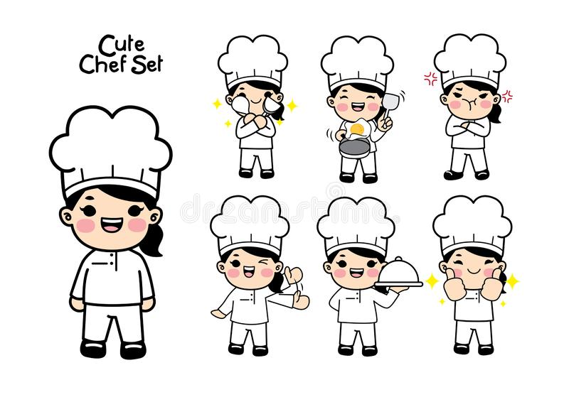 Śliczny szefa kuchni charakter - set Vecter element ilustracji