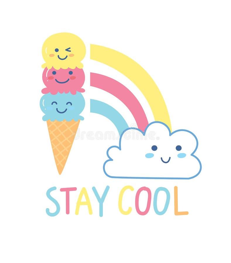 Śliczny t koszulowy projekt z rożkiem, tęczą, chmurą i sloganem kawaii lody, royalty ilustracja