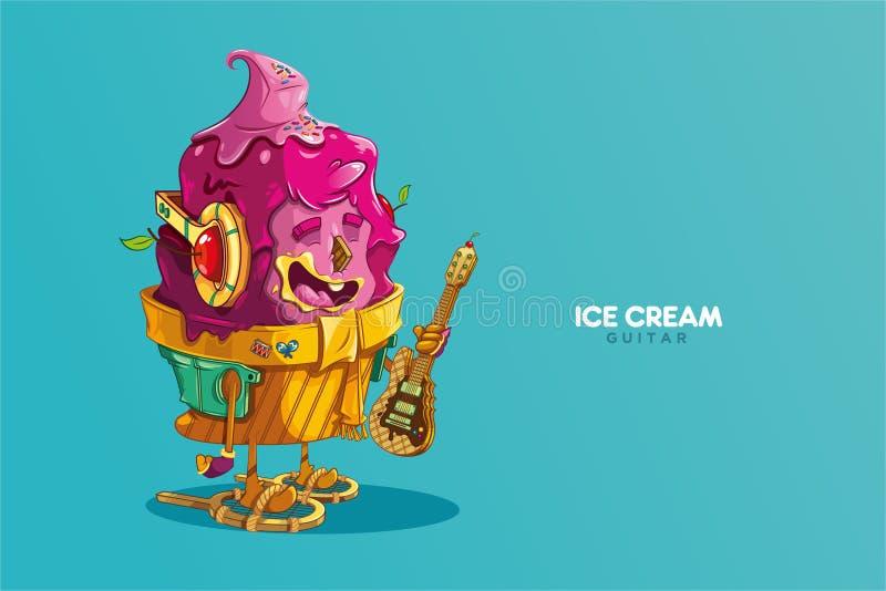 Śliczny truskawkowy lody charakteru muzyk z ciastko gitarą elektryczną zdjęcia stock