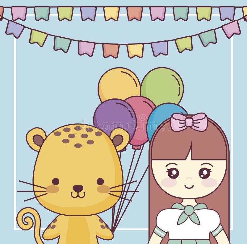 Śliczny tygrys z małej dziewczynki wszystkiego najlepszego z okazji urodzin kartą royalty ilustracja