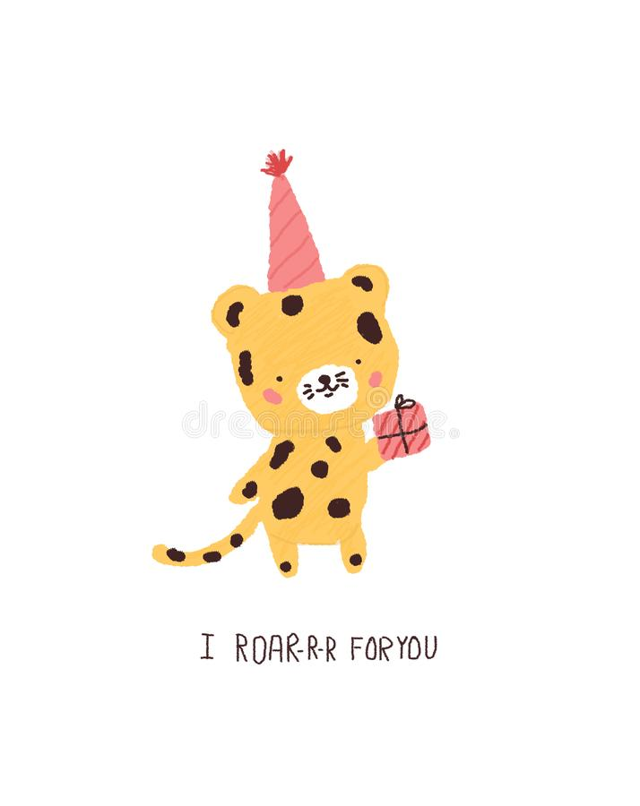 Śliczny tygrys z prezentem urodzinowym Partyjnego zwierzęcia charakter dla kartek z pozdrowieniami, druki ilustracja wektor