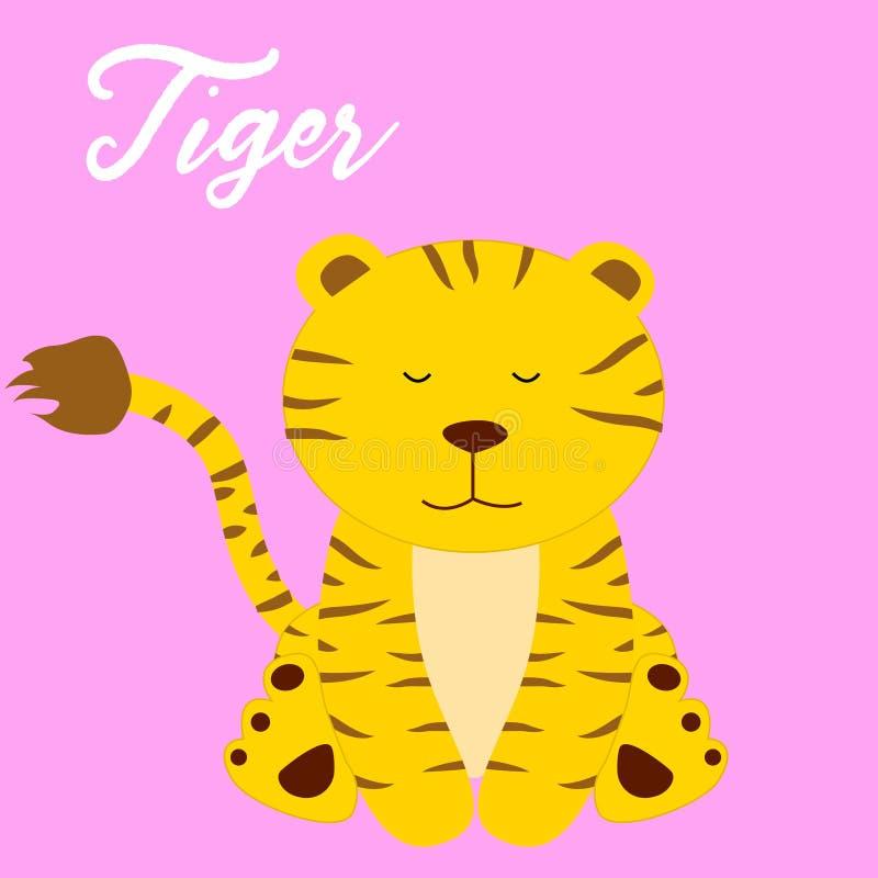 Śliczny tygrysi dziewczynki kreskówki wektor royalty ilustracja