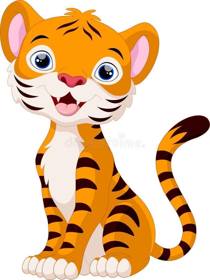 Śliczny tygrysi kreskówki obsiadanie ilustracji