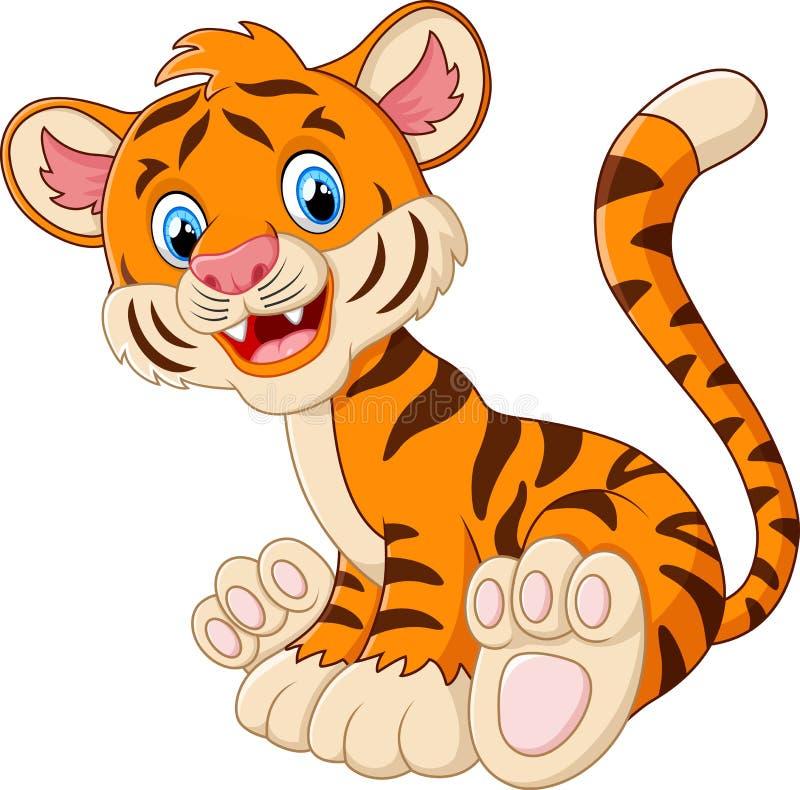 Śliczny tygrysi kreskówki obsiadanie ilustracja wektor