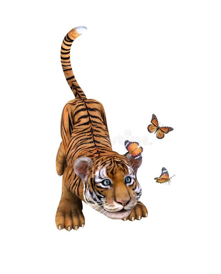 Śliczny tygrysi lisiątko bawić się z motylami. ilustracja wektor