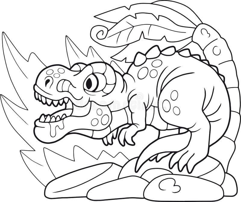 Śliczny tyrannosaurus, kolorystyki książka, śmieszna ilustracja royalty ilustracja