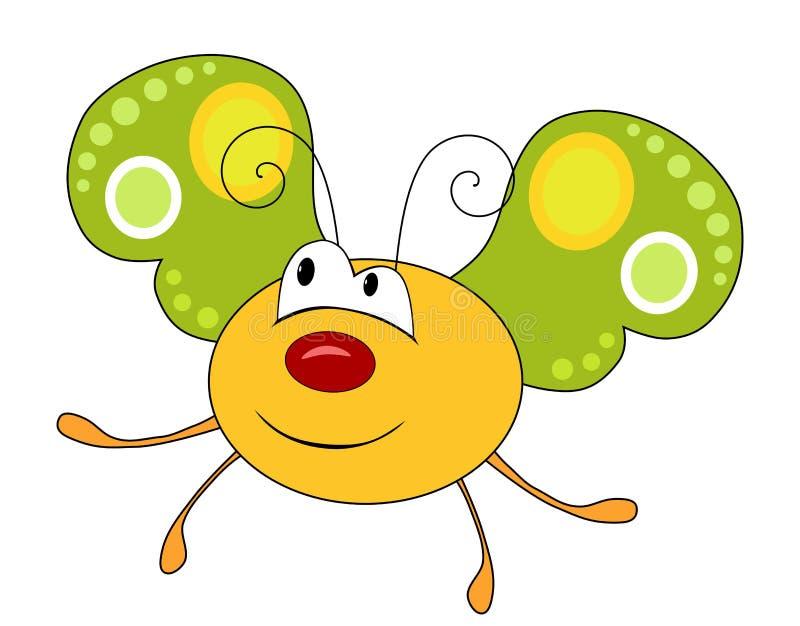 Śliczny uśmiechnięty żółty motyl odizolowywający na bielu ilustracji