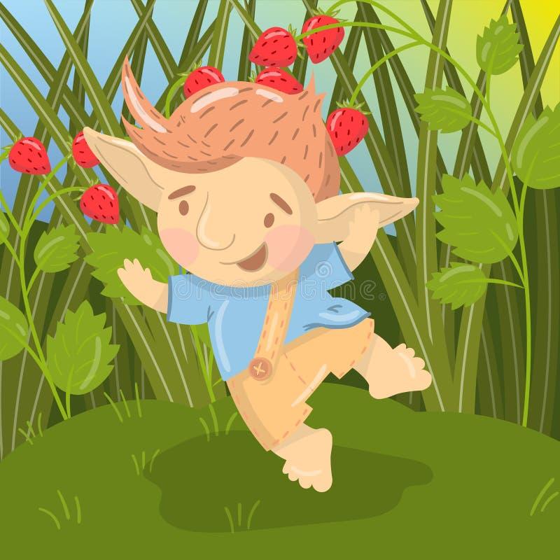 Śliczny uśmiechnięty błyszczki chłopiec charakter, śmieszna istota ma, zabawę i doskakiwanie na backround pole truskawkowy wektor ilustracji
