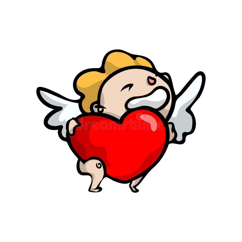Śliczny uśmiechnięty blondynka dzieciaka anioł z dużym czerwonym sercem ilustracji