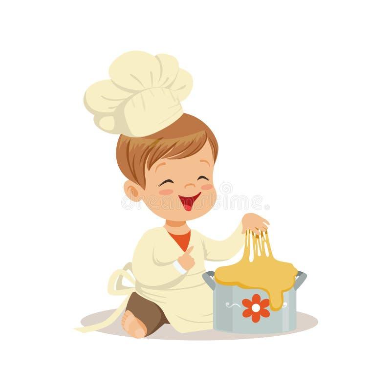 Śliczny uśmiechnięty chłopiec szef kuchni ugniata ciasto wektoru ilustrację royalty ilustracja