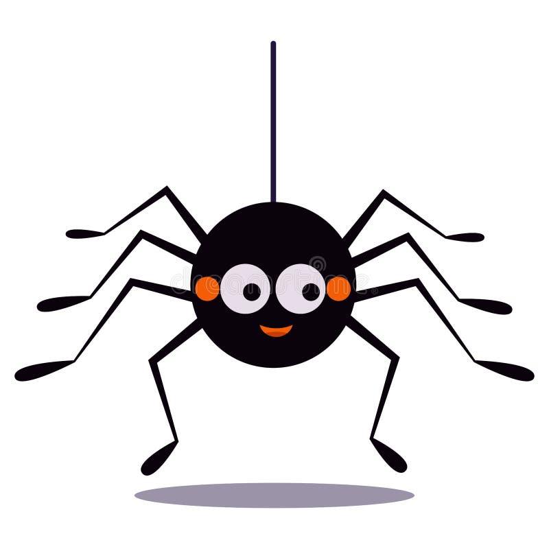Śliczny uśmiechnięty czarny pająka obwieszenie na sznurku odizolowywającym na białym tle pajęczyny ikona royalty ilustracja