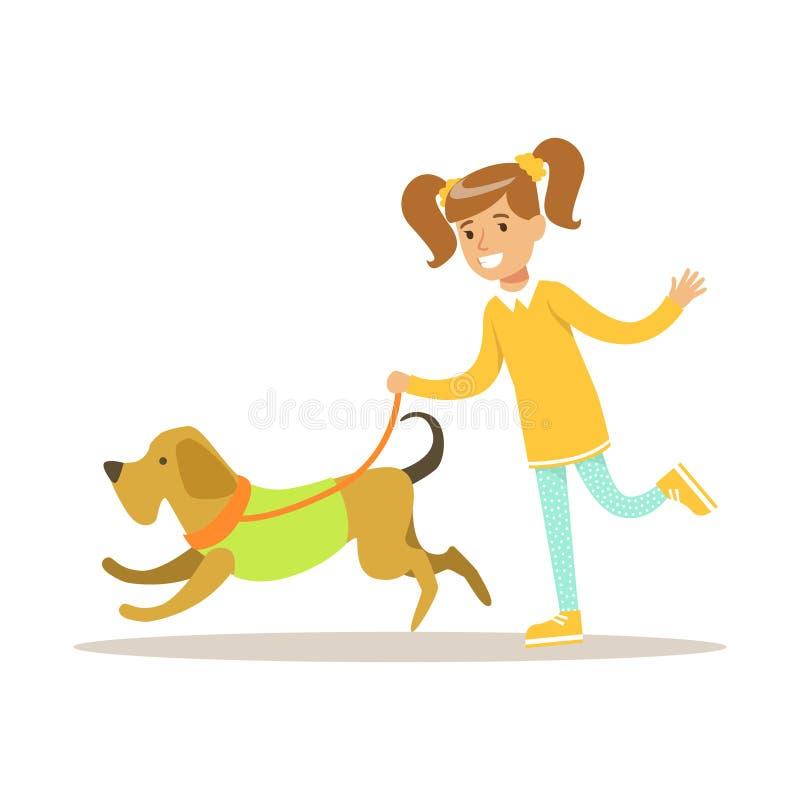 Śliczny uśmiechnięty dziewczyny odprowadzenie z jej psem Kolorowa postać z kreskówki wektoru ilustracja ilustracja wektor