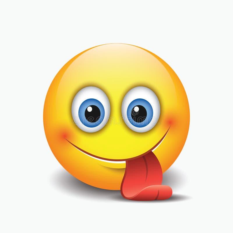 Śliczny uśmiechnięty emoticon, wtyka out jego jęzor ilustracja - emoji - ilustracja wektor