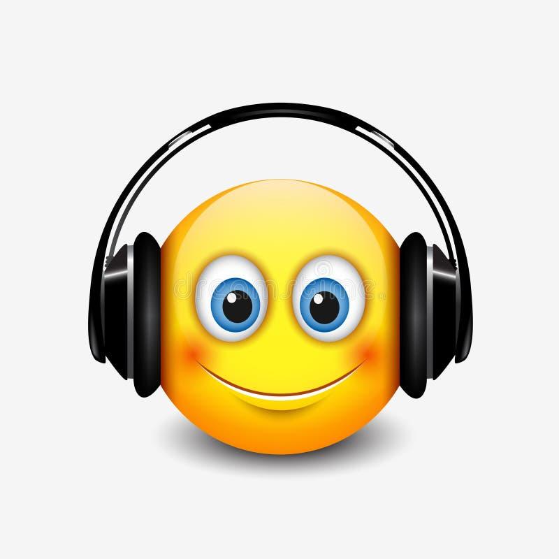 Śliczny uśmiechnięty emoticon z czarną słuchawki, emoji, smiley - wektorowa ilustracja ilustracji