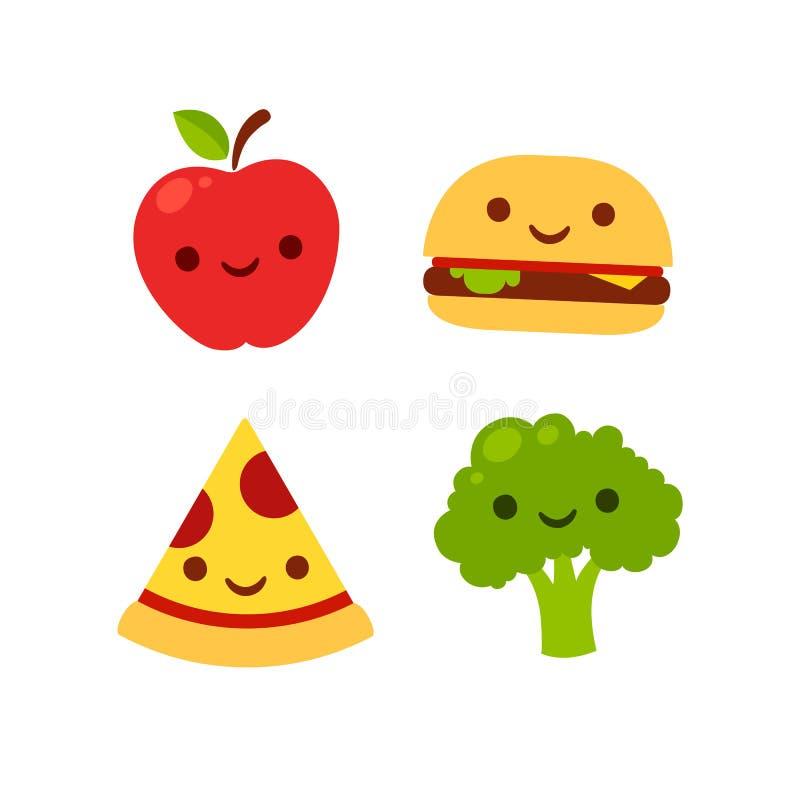 Śliczny uśmiechnięty jedzenie ilustracji