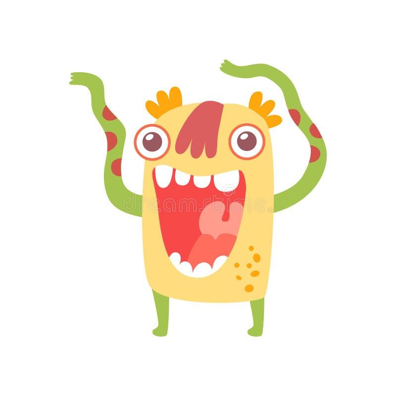Śliczny Uśmiechnięty potwór, Życzliwa Obca postać z kreskówki wektoru ilustracja royalty ilustracja