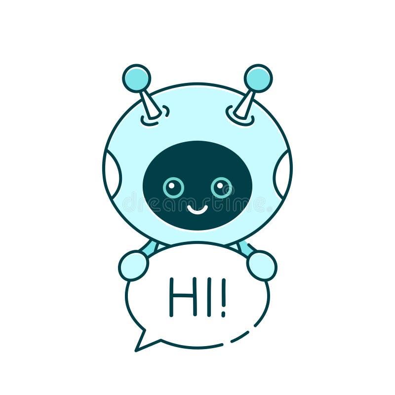 Śliczny uśmiechnięty robot, gadki larwa mówi ilustracji