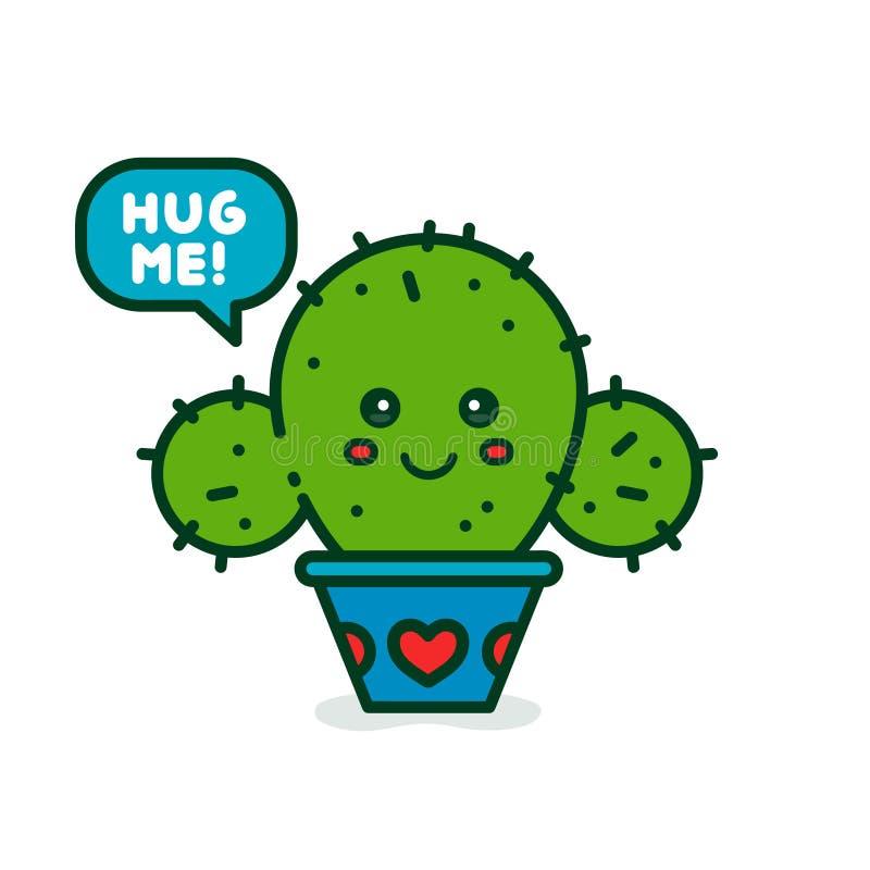 Śliczny uśmiechnięty szczęśliwy kaktusowy mówi ściska ja ilustracja wektor