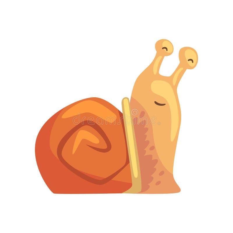 Śliczny unny ślimaczek, komiczna mollusk charakteru kreskówki wektoru ilustracja royalty ilustracja
