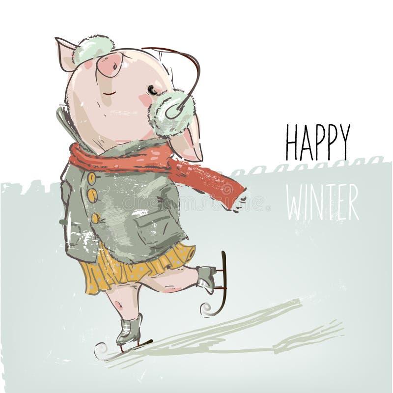 Śliczny uroczy kreskówki świni łyżwiarstwo ilustracji