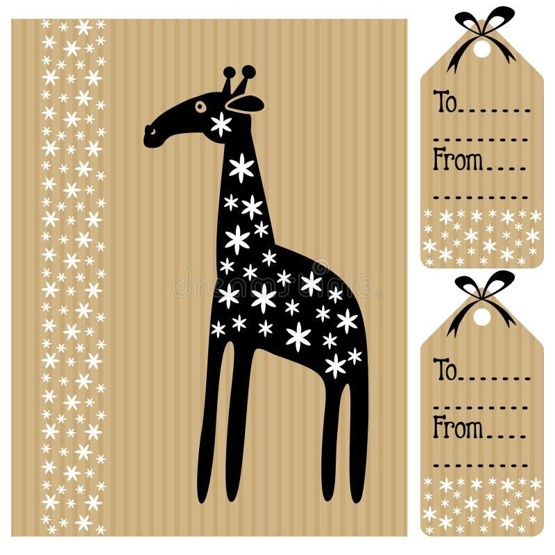 Śliczny urodzinowy dziecko prysznic karty zaproszenie i imię etykietka z żyrafą i kwiatami, czarna biała ilustracja royalty ilustracja