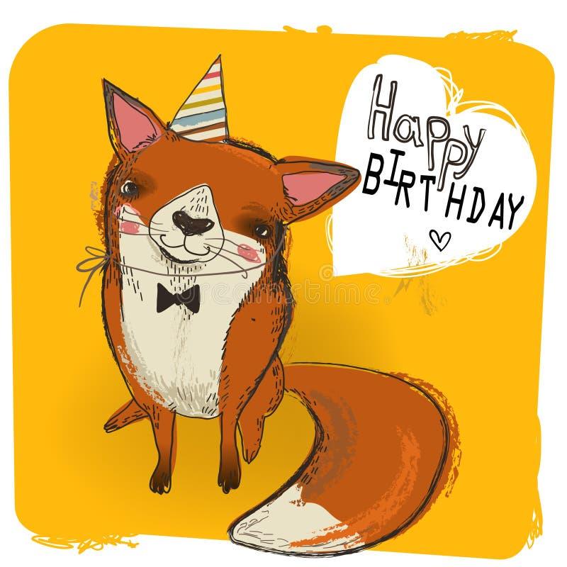 Śliczny urodzinowy lis royalty ilustracja