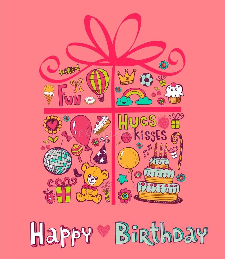 Śliczny Urodzinowy prezent ilustracja wektor