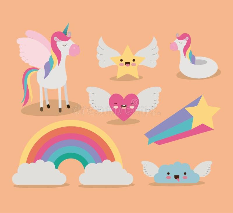 Śliczny ustalony fantazja elementów jednorożec tęczy chmury gwiazdy serce z skrzydłami w koloru tle royalty ilustracja