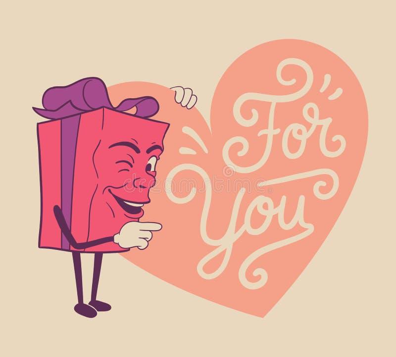 Śliczny valentines prezent dla ciebie ilustracji