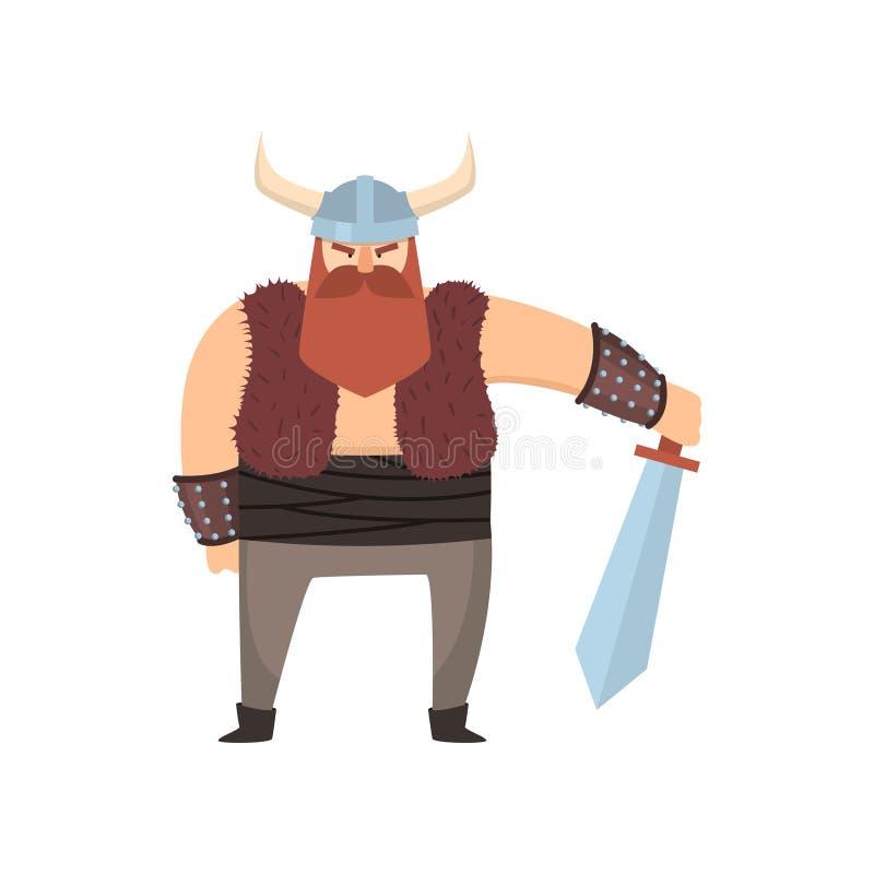 Śliczny Viking wojownik z rogu hełmem i stal kordzikiem ilustracji