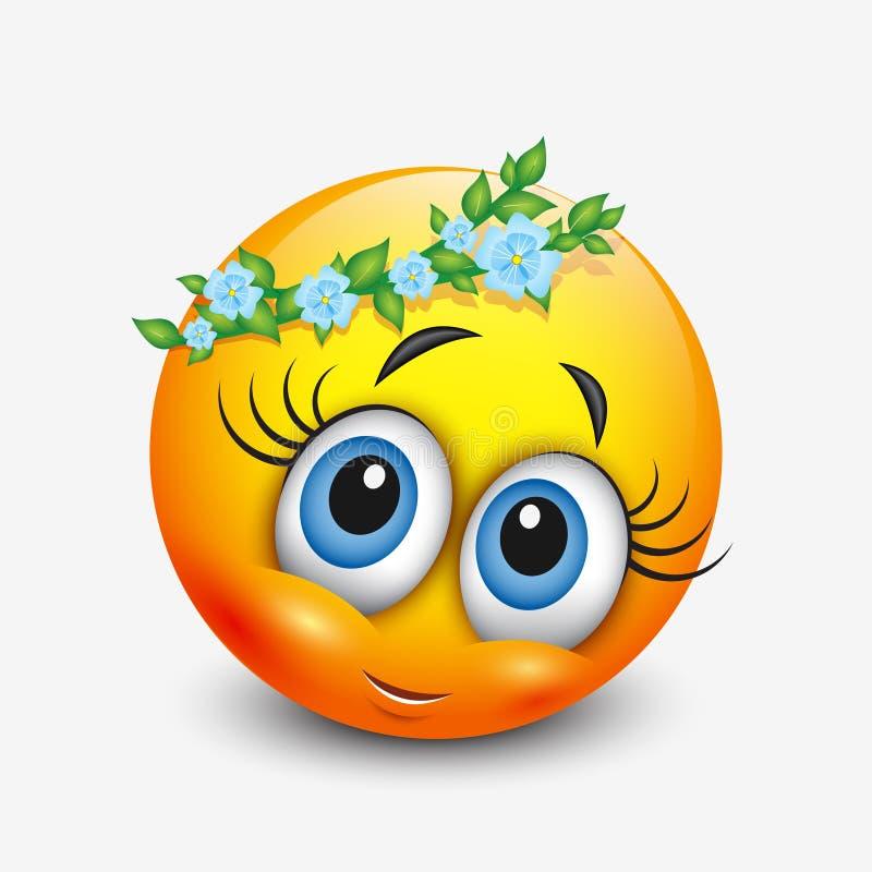 Śliczny virgo emoticon, emoji horoskop - wektorowa ilustracja - astrologiczny znak - ilustracji