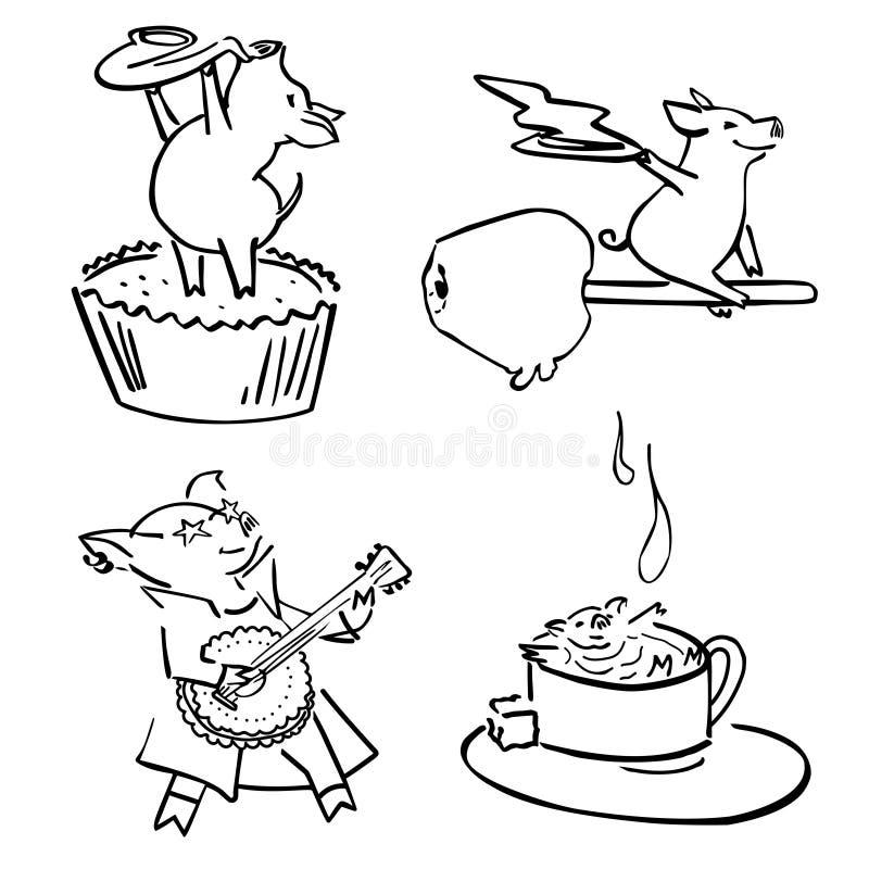 Śliczny wektorowy śmieszny set costumed magiczne świnie royalty ilustracja