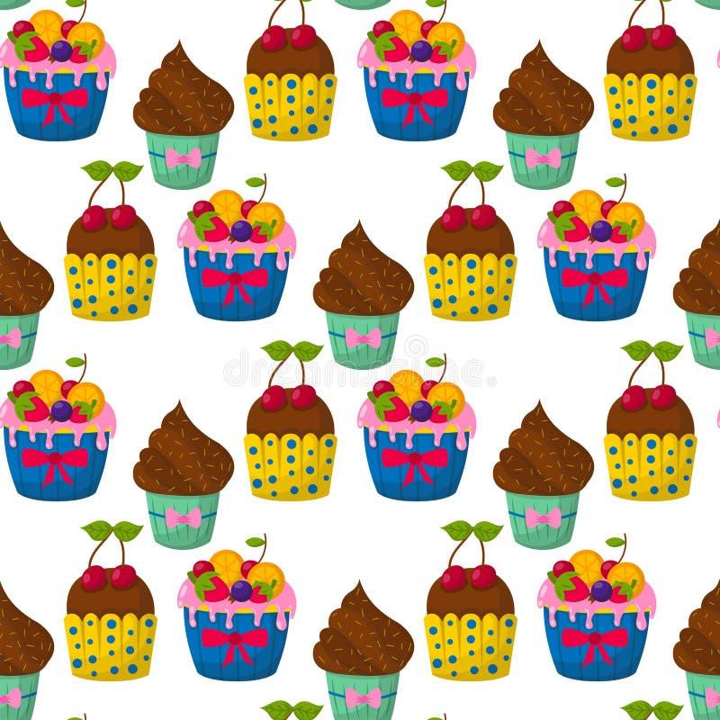 Śliczny wektorowy babeczek i muffins tła czekoladowego bezszwowego deseniowego świętowania piekarni urodzinowy karmowy słodki prz royalty ilustracja