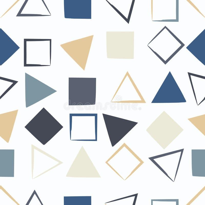Śliczny wektorowy geometryczny bezszwowy wzór Muśnięcia uderzenia, trójboki i kwadraty, Ręka rysująca grunge tekstura streszczeni royalty ilustracja