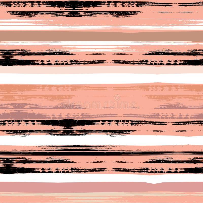 Śliczny wektorowy geometryczny bezszwowy wzór odszukany uderzenie abstrakcjonistyczna szczotkarska malująca istna tekstura był Rę ilustracja wektor