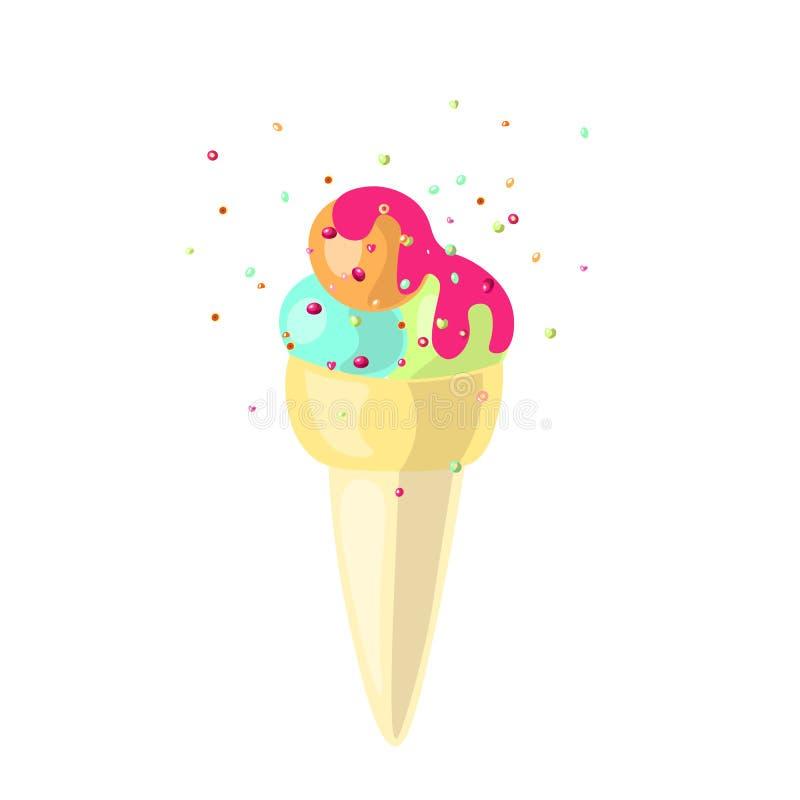 Śliczny wektorowy kreskówka lody rożek z lody łyżkuje wektorową ilustrację Lody rożek z bąbla dziąsłem, mennica ilustracja wektor