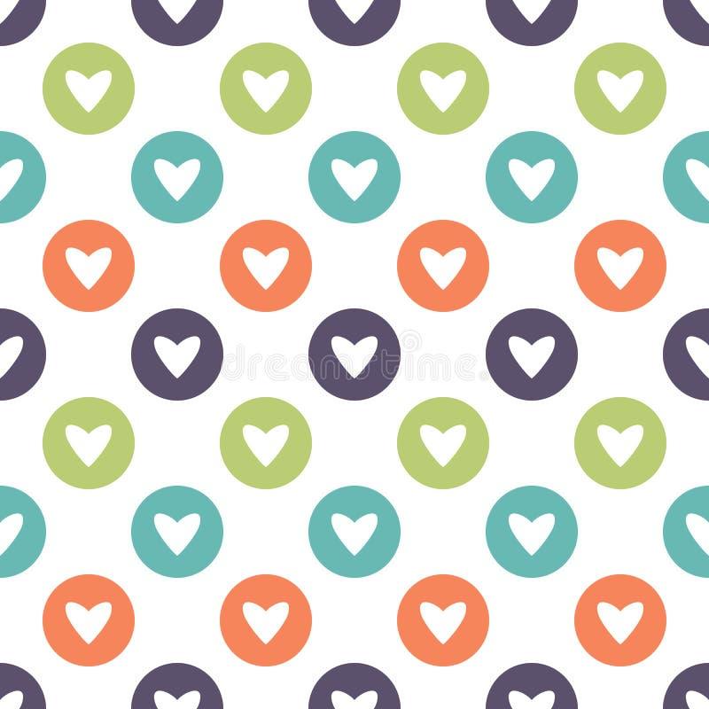 Śliczny wektorowy seamles wzór z okręgami i sercami ilustracja wektor
